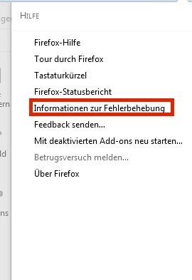 Firefox Informationen Fehlbebehebung