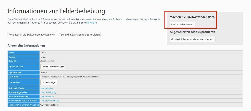 Firefox Informationen zur Fehlerbeherbung