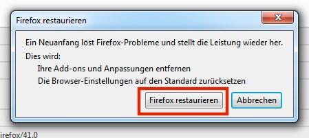 Firefox restaurieren